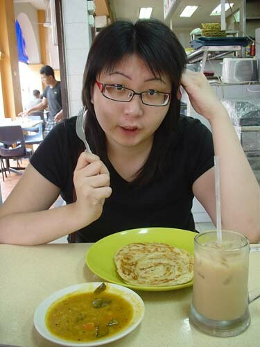 Suanie breakfasting in Singapore