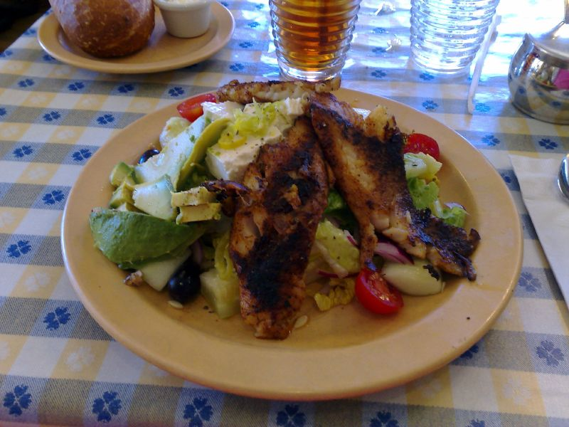 Blackened Lingcod over Greek Salad