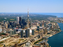 Downtown Toronto (Musical Mint) Tags: sky toronto ontario canada architecture downtown cityscape cntower flight helicopter transportation vehicle helluva musicalmint