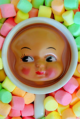 Marshamallows & Coco (boopsie.daisy) Tags: food silly color cute colors strange face toy weird funny colorful doll drink chocolate beverage hotchocolate creepy odd coco marshmallows pastels mug cocoa liquid quirky lots rosycheeks dollhead 25faves