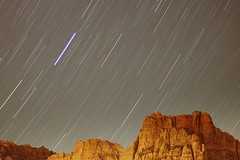 Trails over Zion (mothslayer) Tags: longexposure sky night zionnationalpark southernutah redrock startrails 50mmf18 canyonvistabedandbreakfast