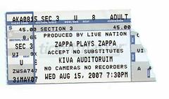 Zappa ticket stub