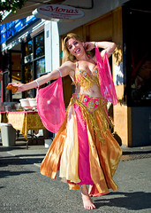 Belly Dancer on Davie St. (Mark Klotz) Tags: canada vancouver fun women bc dancers dancing bellydancer bellydancing monas daviestreet markklotz prettywomen monasbeirutexpresslebanesefood