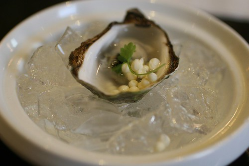Beau soleil oyster with meyer lemon dipping dots