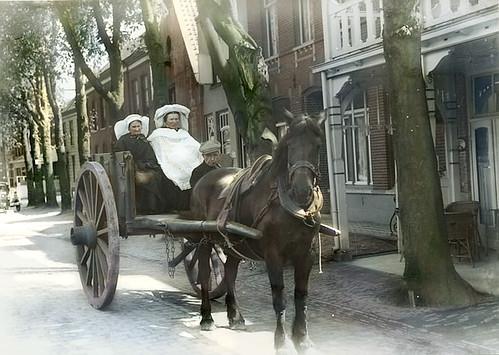 1931 - Markt thv tegenwoordig Friture vd Linden (colorized) Sint Oedenrode