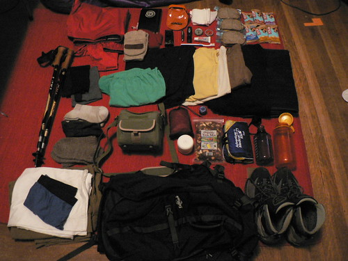 moleskine hat leatherman pen bag pants underwear boots bottles hiking packing towel clothes shirts pack jacket toothpaste flashlight shorts toiletpaper toothbrush nalgene sandwiches compass trailmix mittens eucerin clifbars