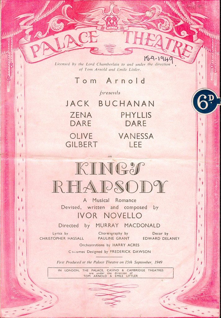 Palace Theatre Programme Cover,
