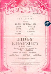 """Palace Theatre Programme Cover, """"King's Rhapsody"""" (Plymouth Theatre History) Tags: history theatre plymouth actress actor drama 0000089"""