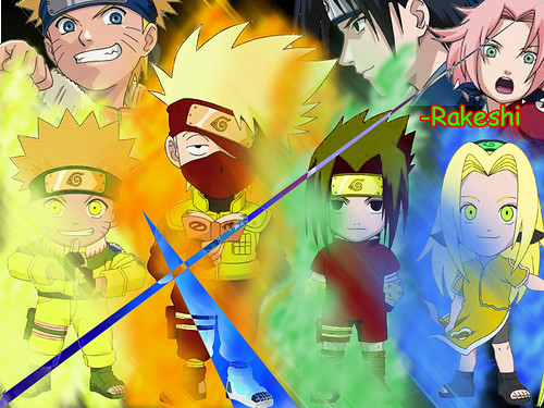 Chibi Naruto , Chibi Kakashi , Chibi Sasuke , and Chibi Sakura wallpaper!