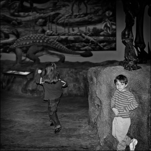 Two Boys in Black and White Exploring Fernbank
