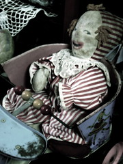 Scary antique clown doll