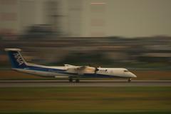 松山空港を離陸するDHC8-Q400