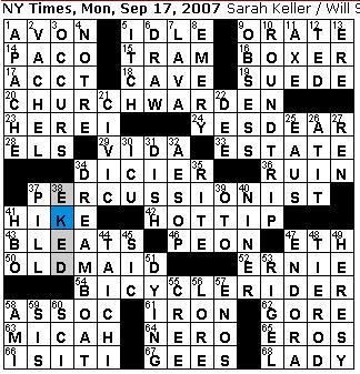 Rex Parker Does The Nyt Crossword Puzzle Monday Sep 17 2007 Sarah Keller