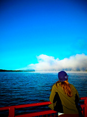 Foggy morning (mike.palic) Tags: travel woman lake water colors girl rock fog ferry climb boat rail going reese climbingal