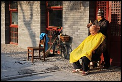 street barber (fateless_gypsy) Tags: china street winter light shadow people urban woman man colour bicycle chair asia beijing bald atmosphere shaving barber cloth shanghaiist broom