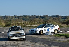 Subaru Impreza and Mk2 Escort Prima Stages Smeatharpe 2010 (Alastair Cummins) Tags: cars ford car stage rally stages subaru mk2 prima impreza mitsubishi peugeot escort sme airfield 2010 rallying smeatharpe