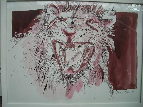 Löwe - Tuschezeichnung von Susanne Haun