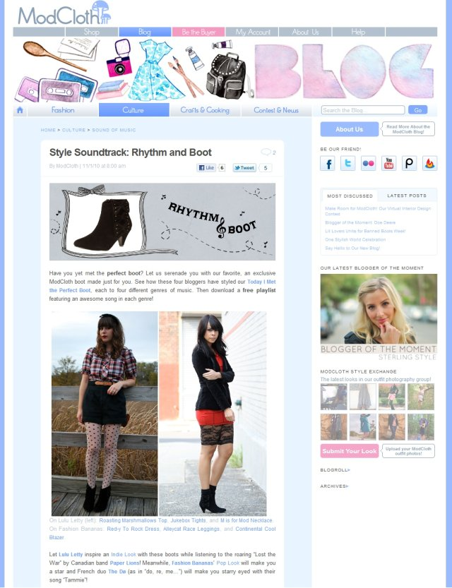 ModCloth Rhythm and Boot campaign