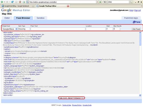 Mashup Editor Datenquellen