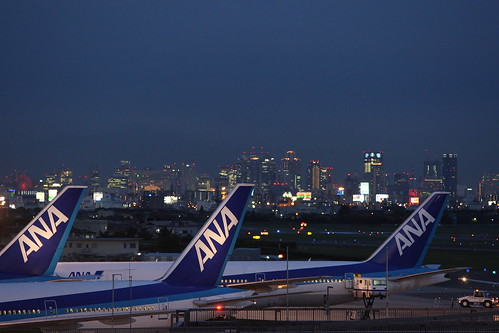 ANA's airplanes in night view