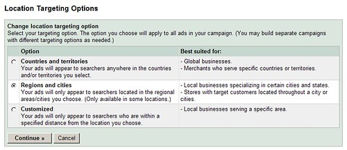 Google AdWords Targeting Options (Country, Regional, Customized)