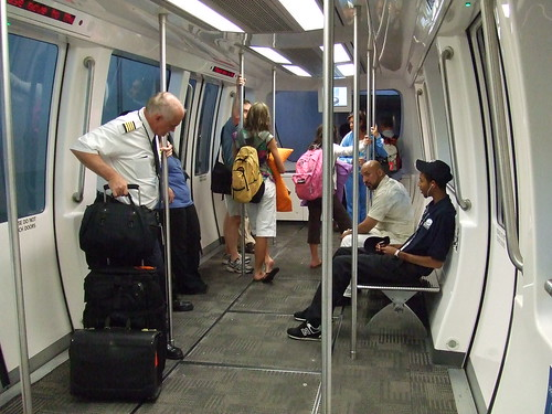 Inside of monorail in Detroit airport