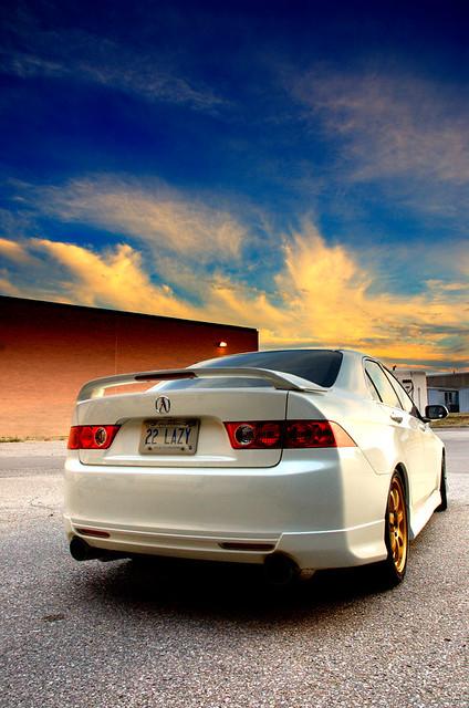 sunset white car gold rays import acura tsx exposureblend