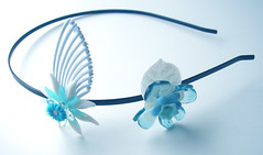 White and Blue Vintage Flowers Headband