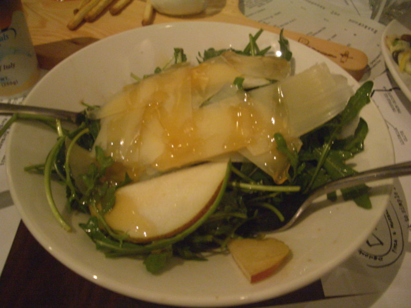 Insalatone with rocket, pear, warm honey and Sardinian pecorino