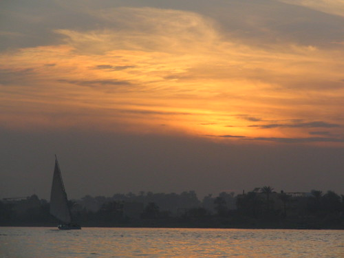 Sunset and sailboat on Nile