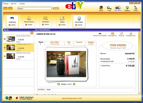 ebay Desktop all'opera