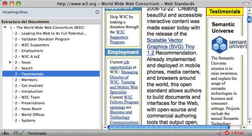 Captura de pantalla de Firefox navegando en la web de la W3C con la extensión HeadingsMap activa