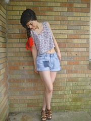 crop top love (bloomingleopold) Tags: floral wardroberemix vintage spring outfit nashville redribbon 1990s braid thrifted croptop hairribbon denimcutoffs highwaistedshorts grosgrainribbon bloomingleopold woodwedges patchworkdenim madewellsandals