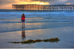 Standing in front of the Pacific Beach pier (San Diego Shooter) Tags: sunset sandiego pacificbeach hdr sandiegosunset hdrsunset