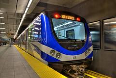Vancouver's Canada Line (HDR) (Brandon Godfrey) Tags: world pictures canada reflection colors station vancouver train reflections underground subway landscape photography scenery colours bc angle metro photos pics earth britishcolumbia sony wide platform rail scene transit pacificnorthwest northamerica dslr skytrain translink rapid hdr highdynamicrange a300 notinservice photomatix canadaline vancouvercitycentre