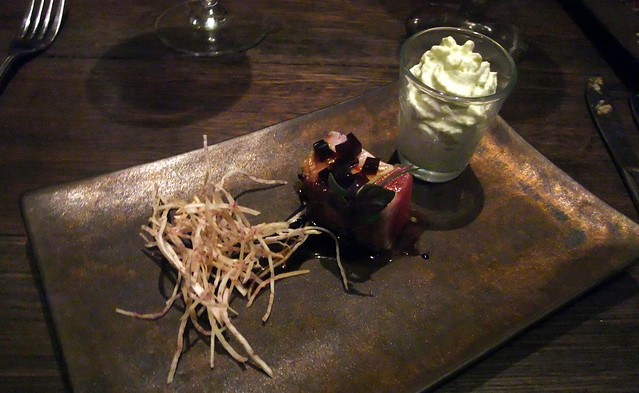 Semi Raw Agent: Seared Crusted One Side Tuna Loin Sakura Mixed, Red Wine Jelly and Wasabi Foam