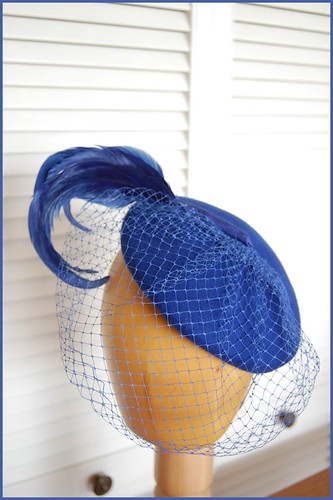blue vintage cocktail hat