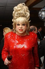 Rita at the Long Island Pride Winter Ball 2003 (ritaknight1999) Tags: red hot hair drag tv big cd rita crossdressing queen bighair tgirl transgender tranny blonde transvestite fancy knight cutouts gown crossdresser beaded reddress sequin trannie redgown