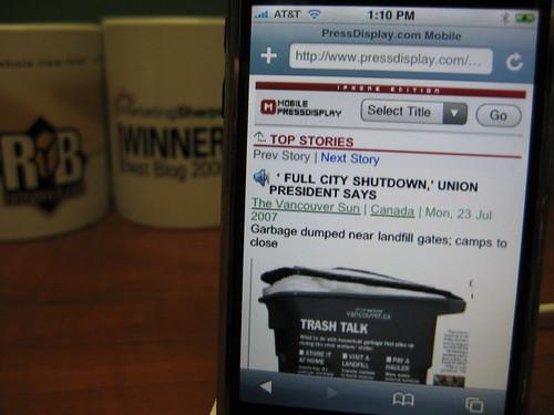 Press Display on iPhone