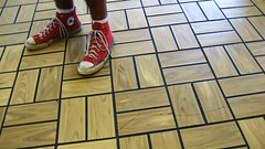 no shoes no service (Lindsey Burnett) Tags: red boys shoes floor dirty gasstation gross converse hightops dirtyshoes tilefloor redconverse dirtyconverse boysshoe worninconverse grossfloor beatupconverse