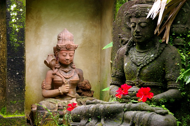 statues outside a house in Ubud