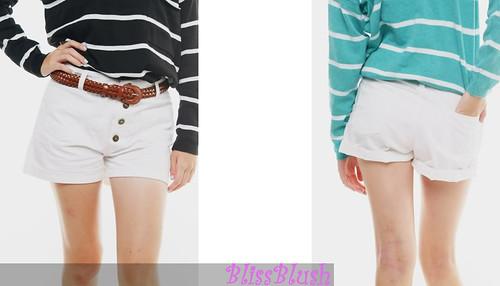 White Mid-waist Shorts
