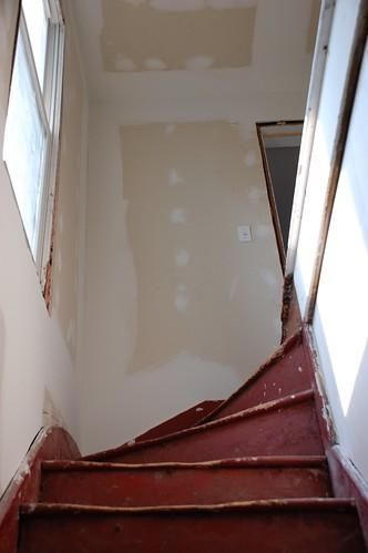 Hallway drywall, finish coat!