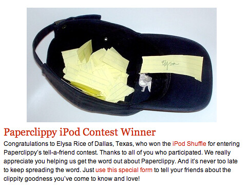 iPod Contest Winner