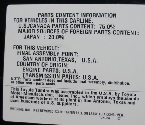 Toyota Tundra parts content label