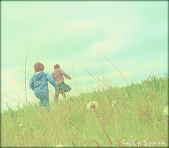 Chasing Dandelions (Paisley patches (coming and going)) Tags: children fz35 lumixfz38 wormseyeviewsunday