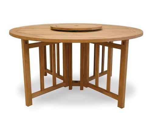 Round Flip Teak Table