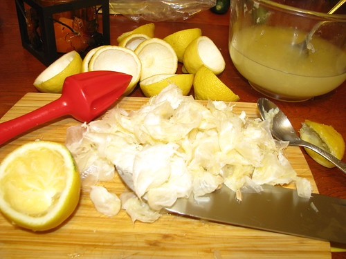 juicing and cleaning the lemons