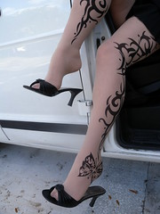 Tattoo pantyhose and shoe dangle (Sugarbarre2) Tags: auto show street city party people urban woman usa baby white black hot feet girl beautiful car leather fashion mom fun photo high cool nikon toes arch ride legs florida sandals style arches mini s mature short wife upskirt granny slides nylon