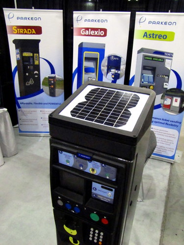Solar-powered ticket vedning terminal made by Parkeon. Trans-Expo 2010 Shows Hybrid Diesel-Electric, GPS, Wi-Fi, Solar-Power & H.264 Technologies in Public Transit Buses